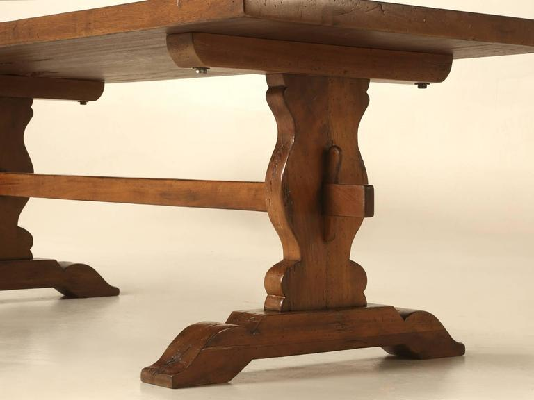 French Trestle Table in Solid Mahogany For Sale 1