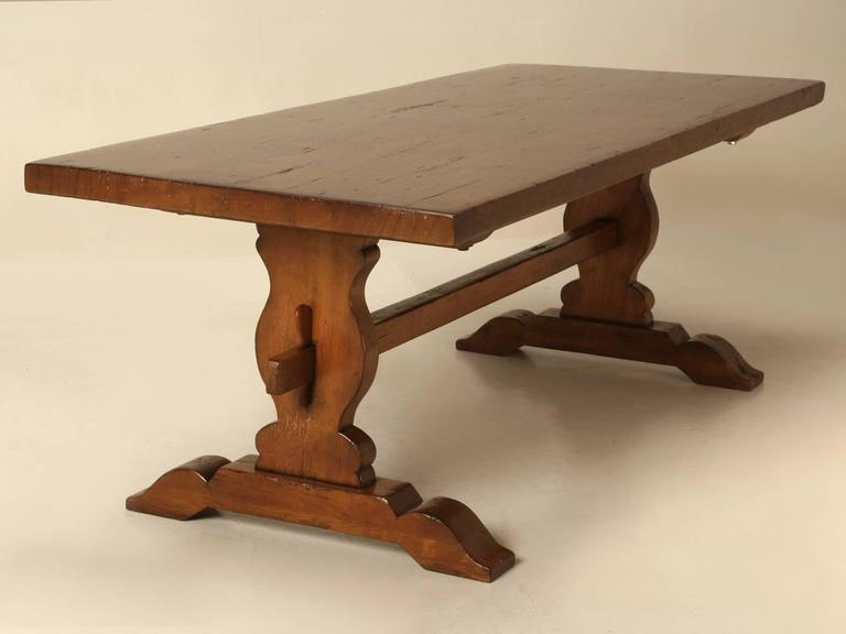 French Trestle Table in Solid Mahogany For Sale 2