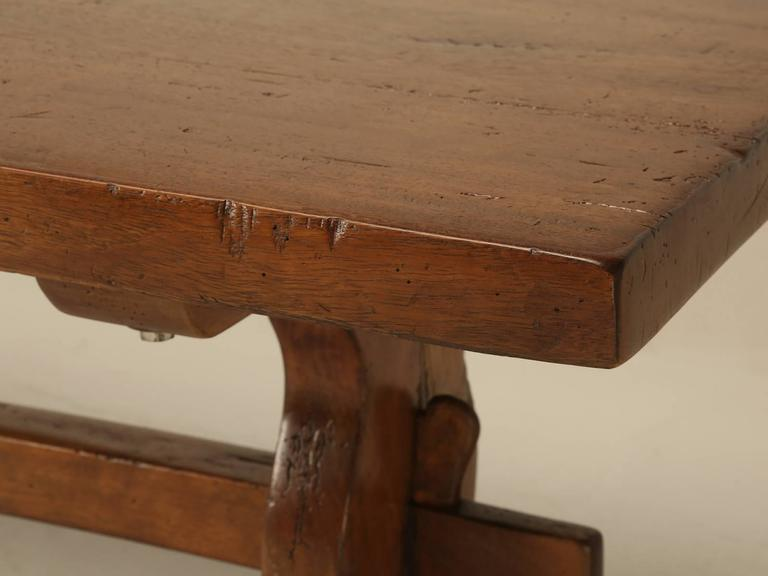 Early 20th Century French Trestle Table in Solid Mahogany For Sale
