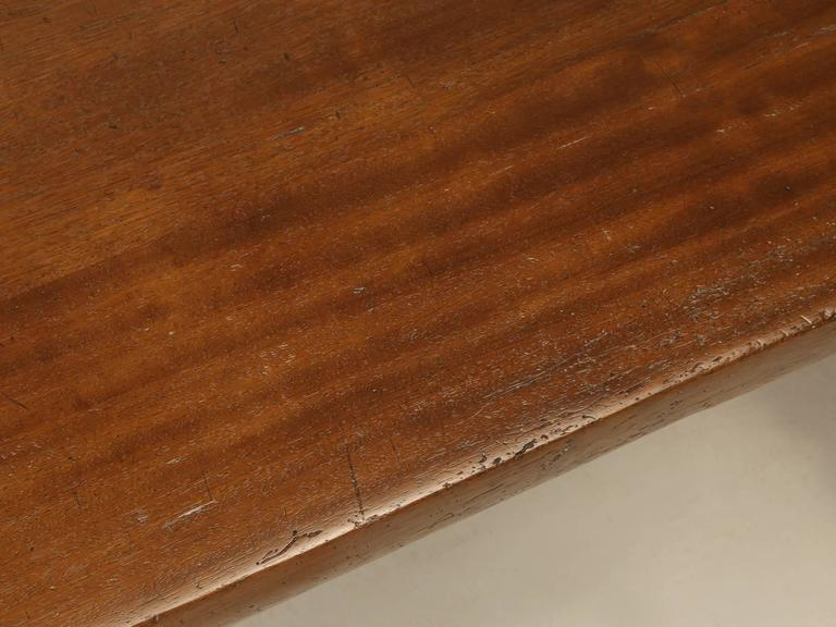 French Trestle Table in Solid Mahogany In Good Condition For Sale In Chicago, IL