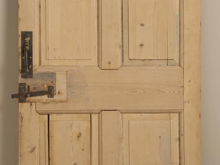 Antique Irish Scrubbed Pine Interior Door In Distressed Condition For Sale In Chicago, IL