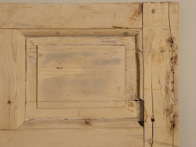 Country Antique Irish Scrubbed Pine Interior Door For Sale