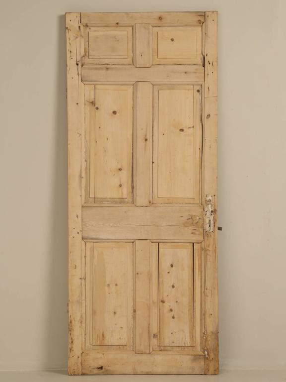 Antique Irish Scrubbed Pine Interior Door For Sale 3