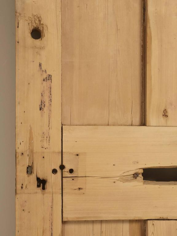 Antique Irish Pine Scrubbed Exterior Door In Distressed Condition For Sale In Chicago, IL
