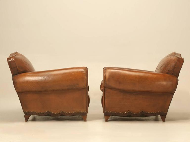 French Leather Club Chairs from the 1930s For Sale 4