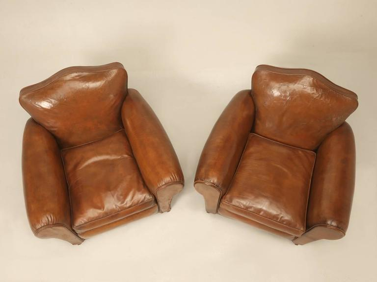 Mid-20th Century French Leather Club Chairs from the 1930s For Sale