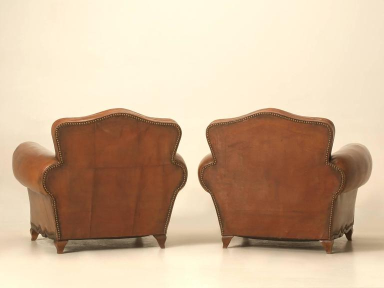 French Leather Club Chairs from the 1930s For Sale 5