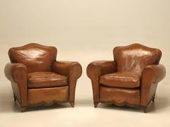 French Leather Club Chairs from the 1930's
