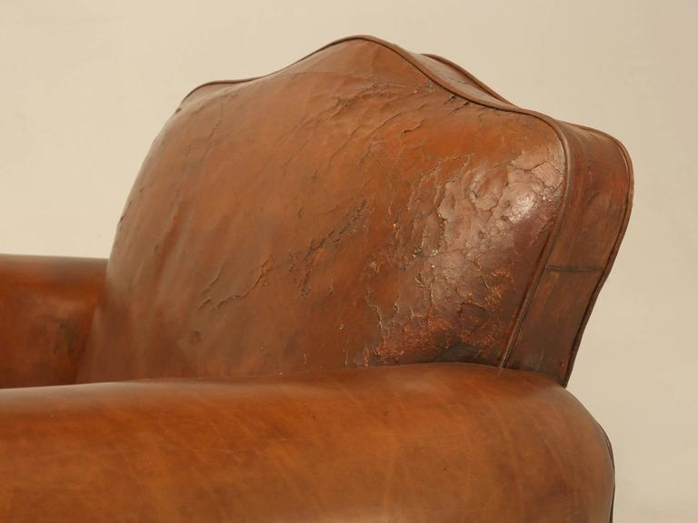 French Leather Club Chairs from the 1930s In Good Condition For Sale In Chicago, IL