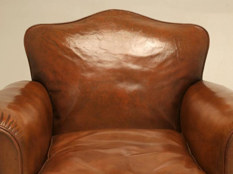 Art Deco French Leather Club Chairs from the 1930s For Sale