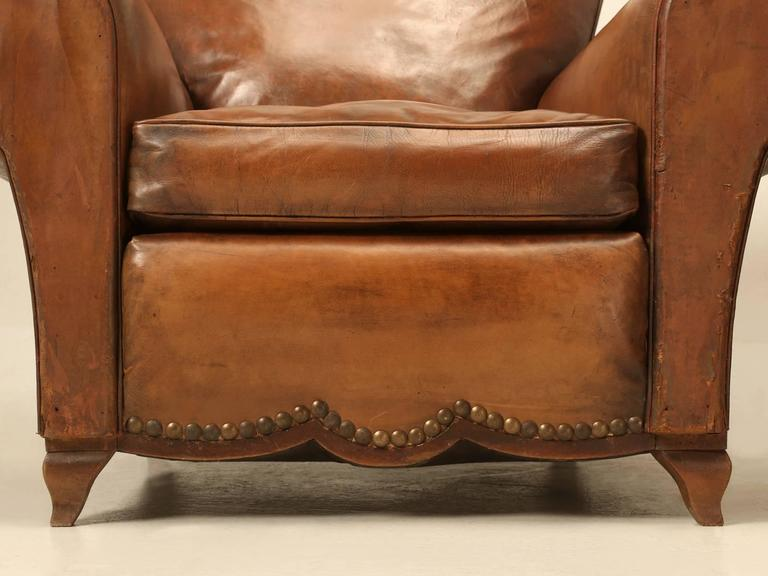 French Leather Club Chairs from the 1930s For Sale 3