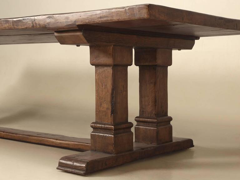 Farmhouse Trestle Dining Table in Solid Oak at 1stdibs