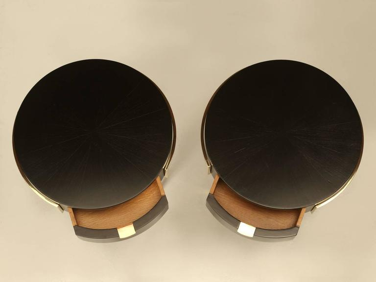 Pair of beautiful, very well executed ebonized Mid-Century Modern side tables with exquisite craftsmanship. Although purchased in France, these could easily be Italian or Scandinavian. The quality is quite something and most likely were made by a