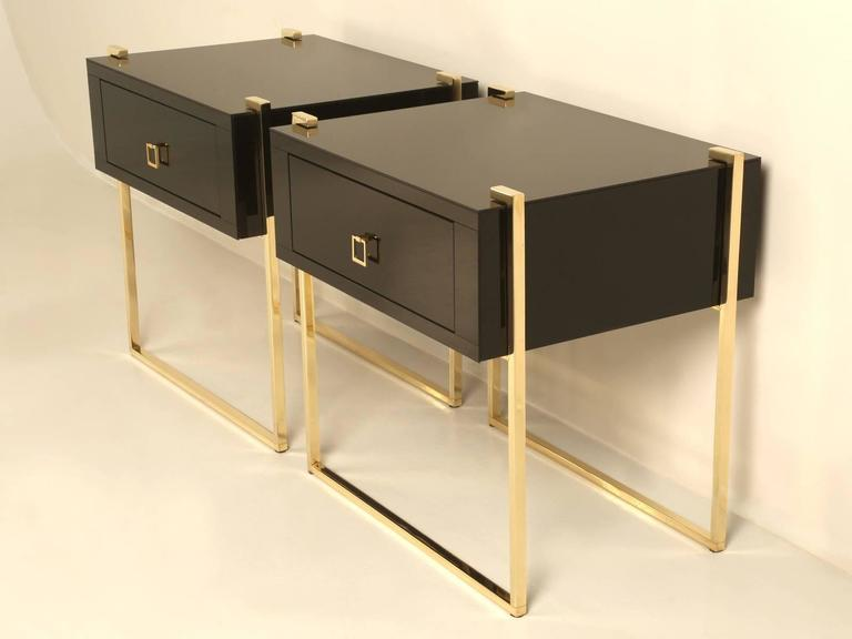 Pair Of Custom Black Glass And Brass Night Stands Or Side