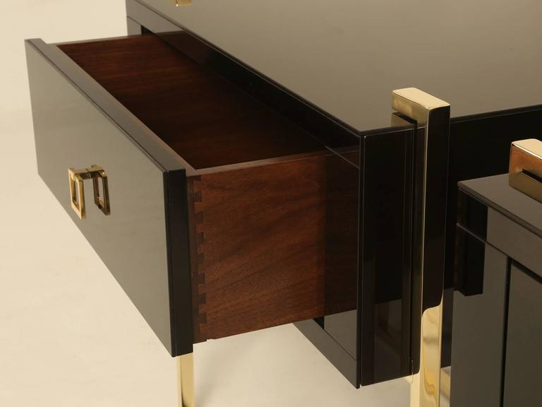 Game Night Glass Tables: Pair Of Custom Black Glass And Brass Night Stands Or Side