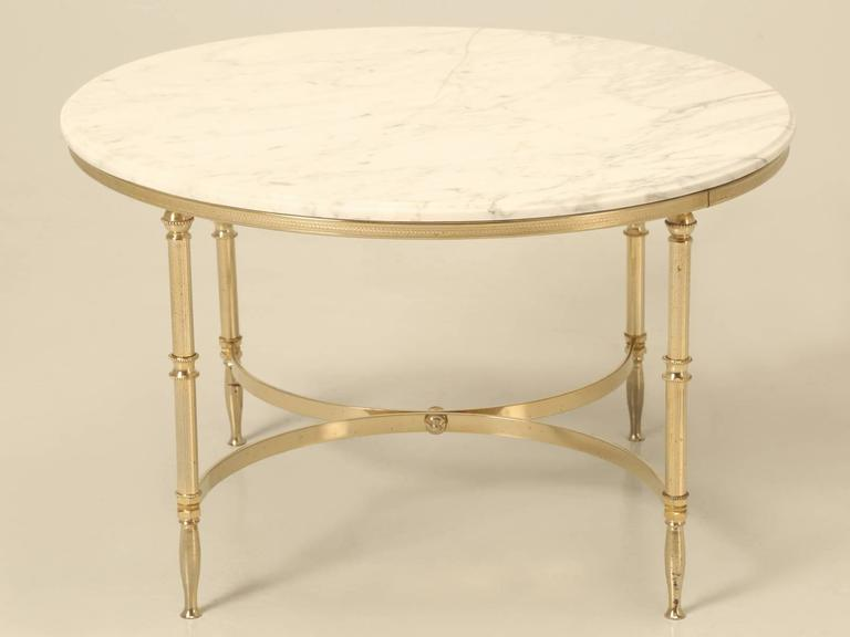 Mid Century Modern French Round Coffee Table In Brass And Marble
