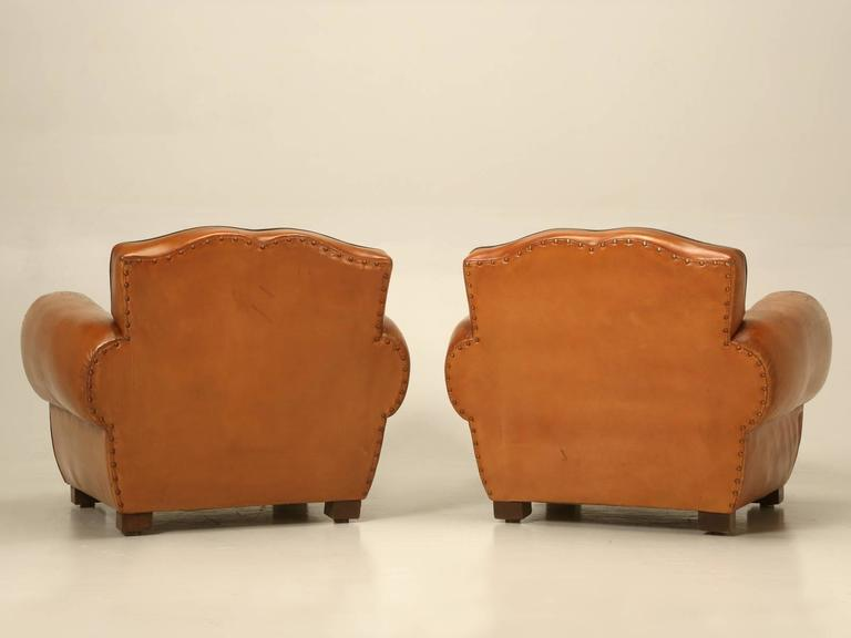 French Pair of Art Deco Leather Club Chairs from the 1930s For Sale 6