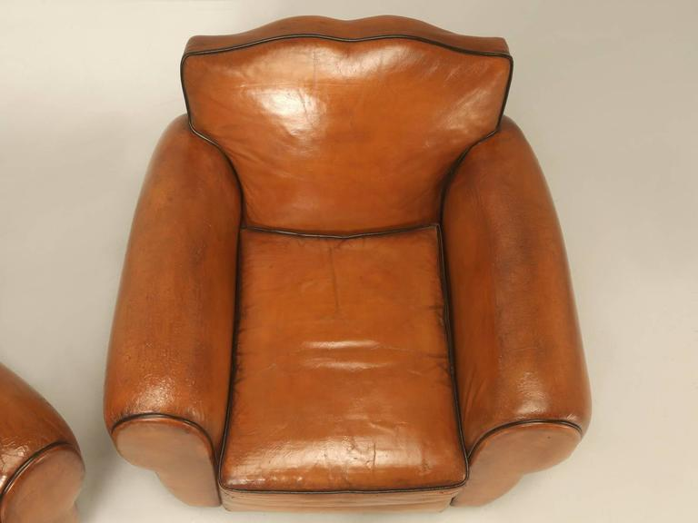 Mid-20th Century French Pair of Art Deco Leather Club Chairs from the 1930s For Sale