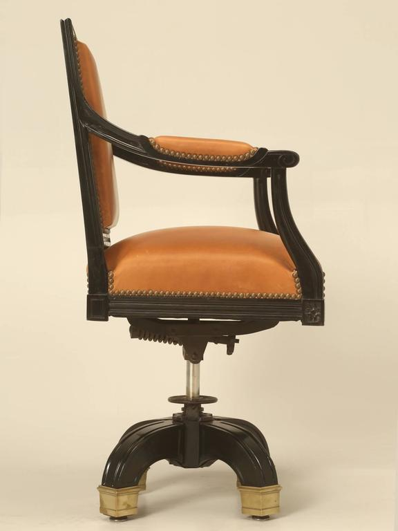 French Louis XVI Style Desk Chair Done in Ebony and Saddle Leather For Sale 5