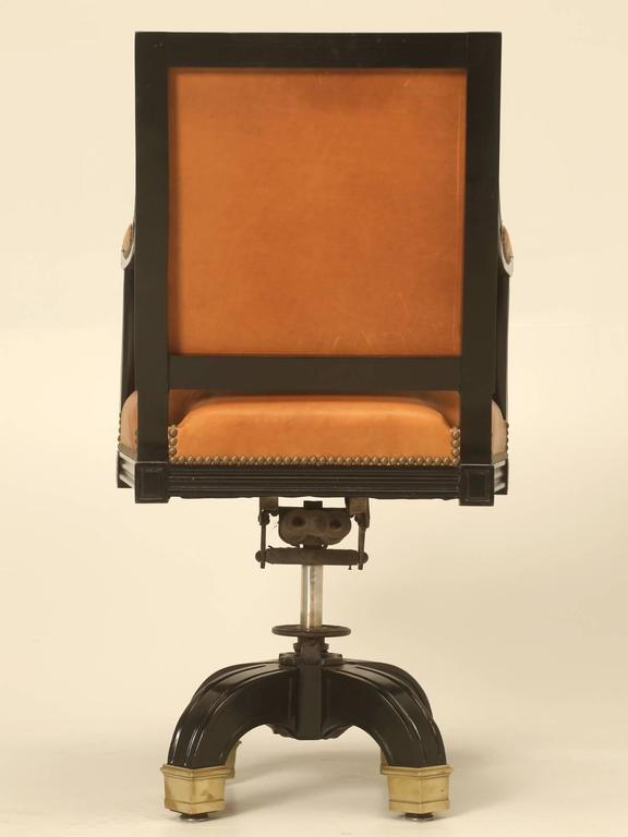 French Louis XVI Style Desk Chair Done in Ebony and Saddle Leather For Sale 6