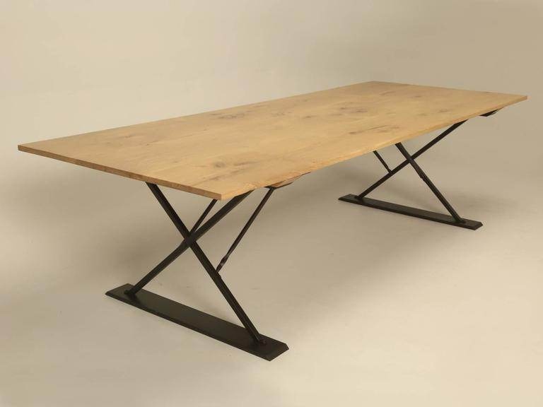 Oak Industrial Style Dining Table For Sale