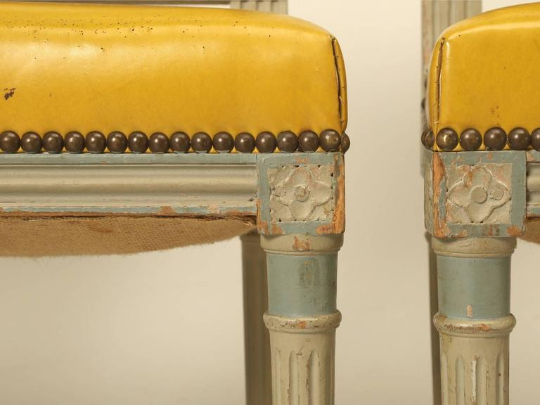 french louis xvi style original putty grey painted dining chairs at 1stdibs