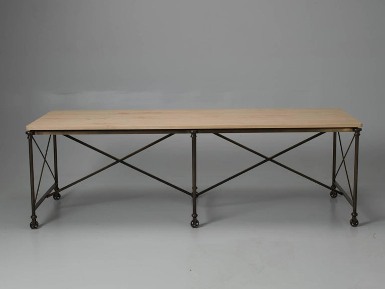 Contemporary Bronze Dining Table with an Ashwood Top For Sale