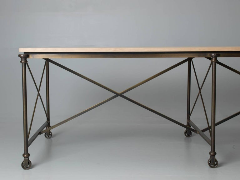 American Bronze Dining Table with an Ashwood Top For Sale