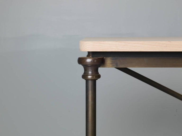 Industrial Bronze Dining Table with an Ashwood Top For Sale
