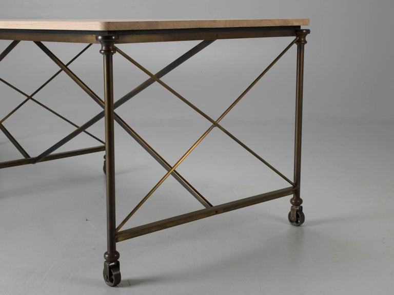 Bronze Dining Table with an Ashwood Top For Sale 2