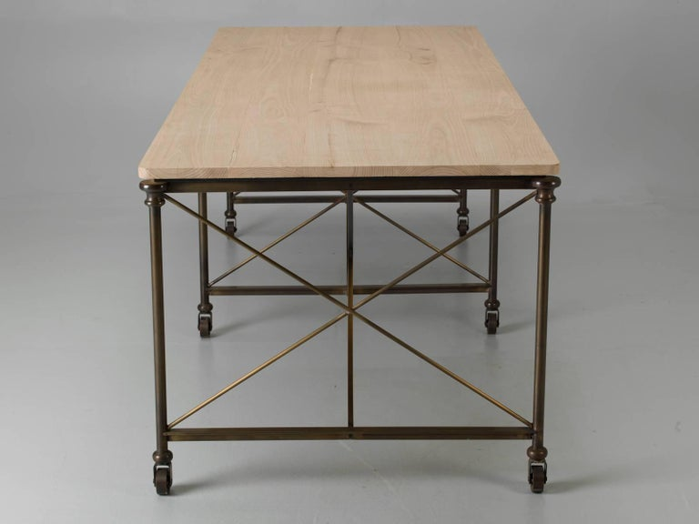 Bronze Dining Table With An Ashwood Top For Sale At 1stdibs