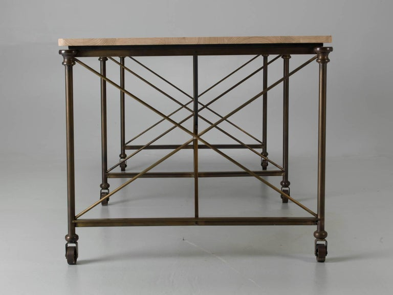 Bronze Dining Table with an Ashwood Top For Sale 4