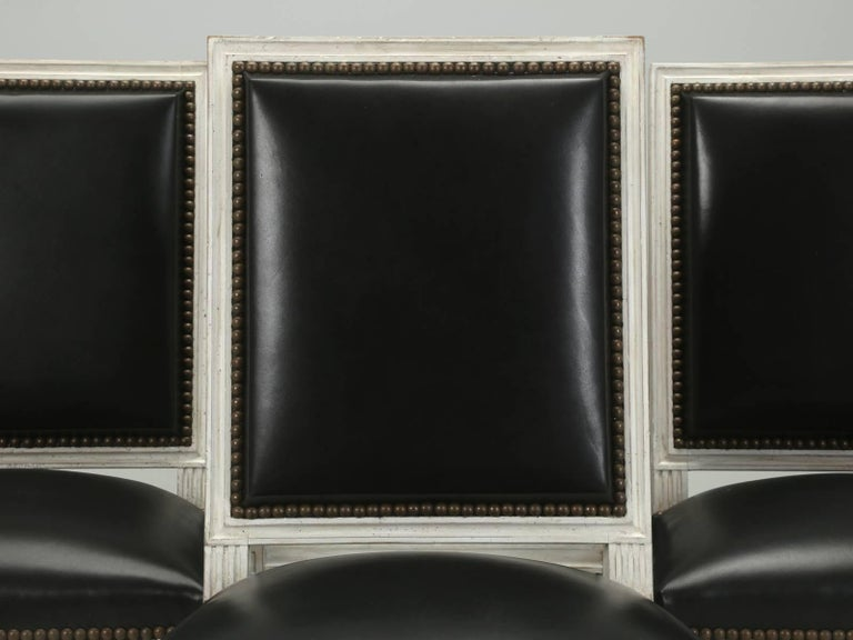 French Louis XVI Style Dining Chairs in Black Leather and Distressed White Paint 2