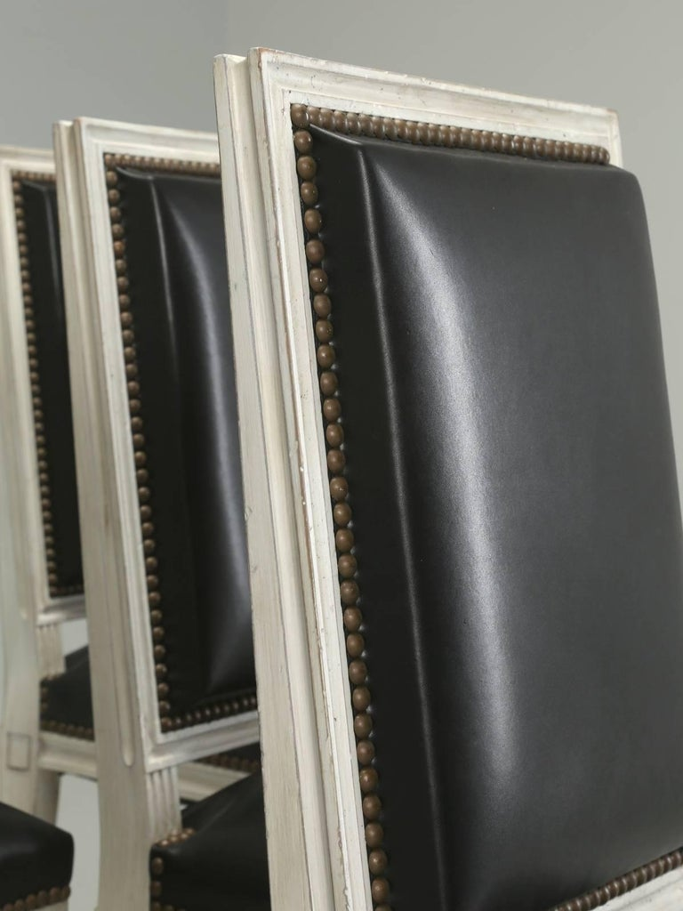 French Louis XVI Style Dining Chairs in Black Leather and Distressed White Paint 4