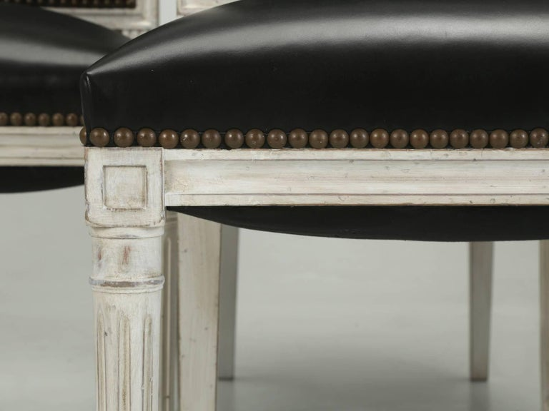 French Louis XVI Style Dining Chairs in Black Leather and Distressed White Paint 5