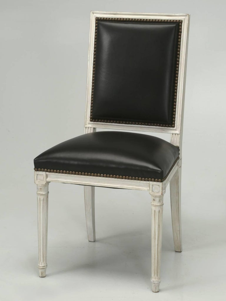 French Louis XVI Style Dining Chairs in Black Leather and Distressed White Paint 8