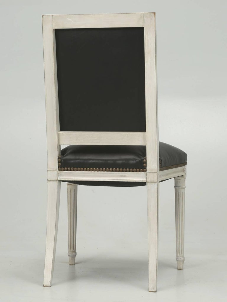 French Louis XVI Style Dining Chairs in Black Leather and Distressed White Paint 10