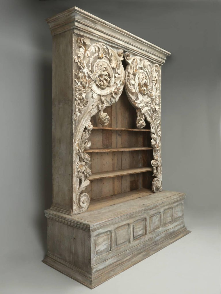 This unbelievable carved bookcase, was found in the home of a retired antique dealer, who resided in a small rural French village, in the south of France. Every item in her home, showcased a woman with a great appreciation for beauty and a