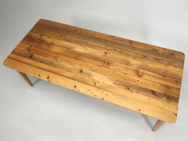 English pine farm table, from the Village of Green Hammerton, in the County of Yorkshire, England by one of our all-time favorite Pine dealers; Main Pine. This pine farm table was made from old floor joists, to the best of my knowledge, about 20