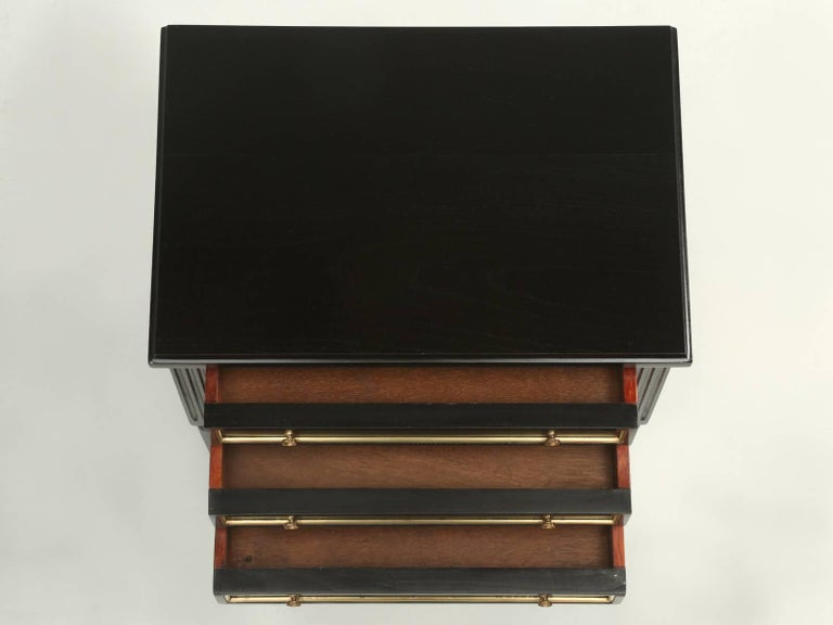 Mid-20th Century French Louis XVI Style Ebonized Nightstand or Side Table For Sale
