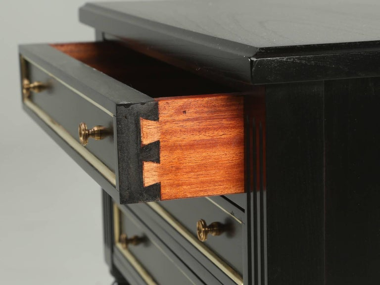French Louis XVI Style Ebonized Nightstand or Side Table For Sale 1