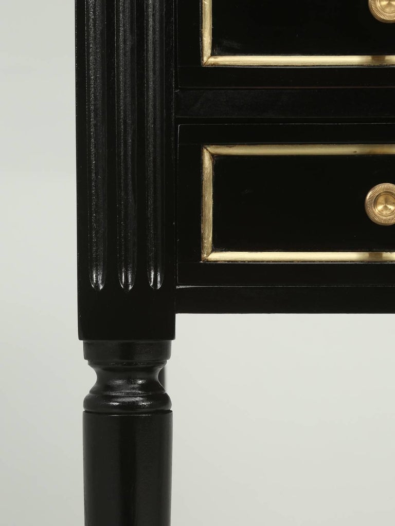 French Louis XVI Style Ebonized Nightstand or Side Table For Sale 4