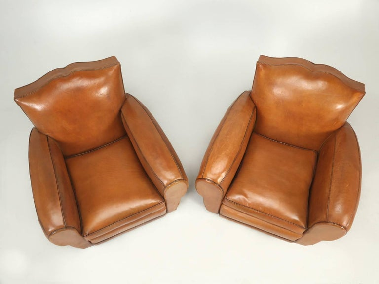 French Art Deco, Original  Moustache Leather Club Chairs, Correctly Restored In Good Condition For Sale In Chicago, IL