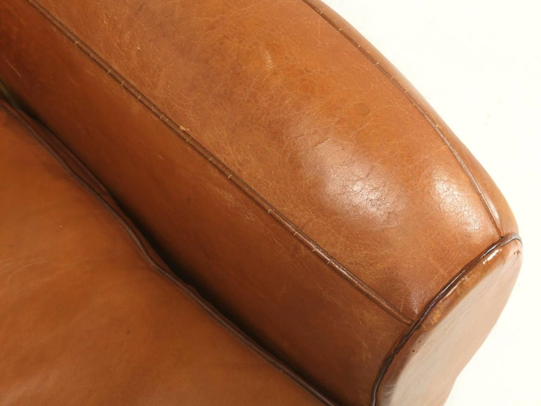 Mid-20th Century French Art Deco, Original  Moustache Leather Club Chairs, Correctly Restored For Sale