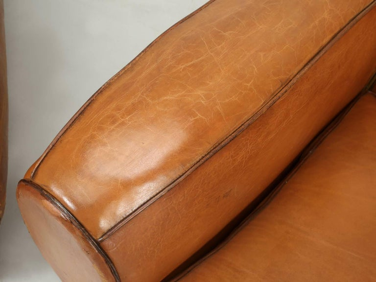 French Art Deco, Original  Moustache Leather Club Chairs, Correctly Restored For Sale 1