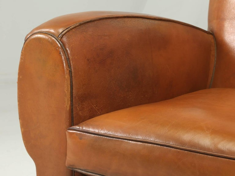 French Art Deco, Original  Moustache Leather Club Chairs, Correctly Restored For Sale 2