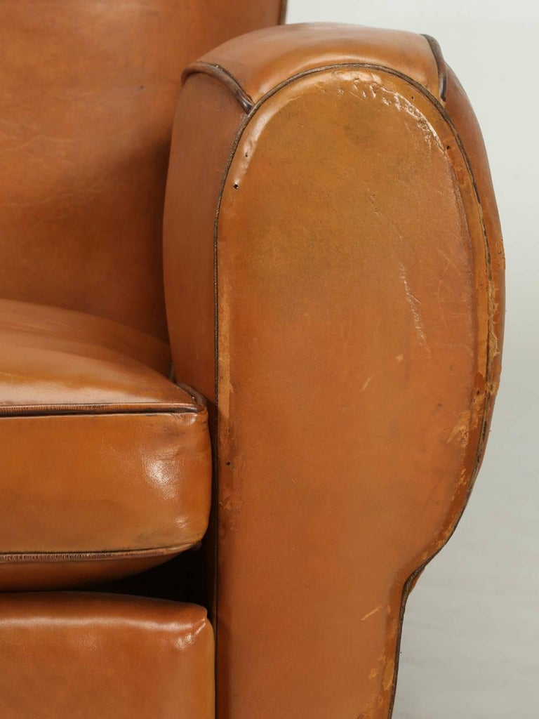 French Art Deco, Original  Moustache Leather Club Chairs, Correctly Restored For Sale 3
