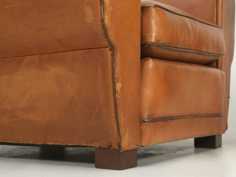 French Art Deco, Original  Moustache Leather Club Chairs, Correctly Restored For Sale 4
