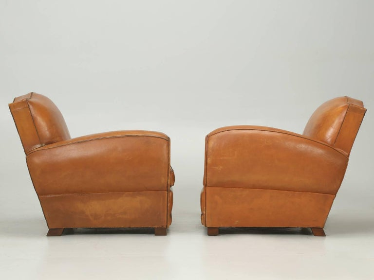 French Art Deco, Original  Moustache Leather Club Chairs, Correctly Restored For Sale 5