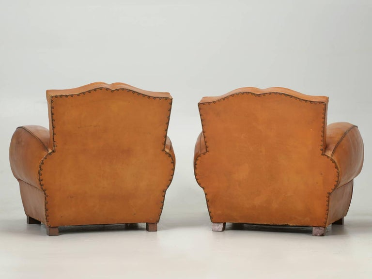 French Art Deco, Original  Moustache Leather Club Chairs, Correctly Restored For Sale 6